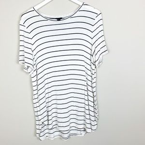 Ann Taylor White Black Striped Short Sleeve Tunic